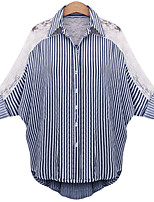 cheap -Women's Vintage Puff Sleeve Cotton Shirt - Solid Colored / Striped Black & White, Tassel Shirt Collar