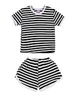 Недорогие -Дети (1-4 лет) Мальчики Черное и белое Полоски С короткими рукавами Набор одежды