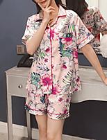 abordables -Col Carré Costumes Pyjamas Femme Géométrique