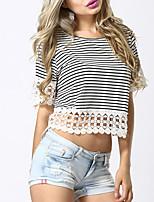 economico -T-shirt Per donna Moda città A strisce