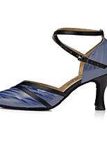 preiswerte -Damen Schuhe für modern Dance Kunstleder Sandalen Kubanischer Absatz Tanzschuhe Blau
