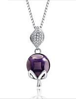 cheap -Women's Onyx Pendant Necklace - S925 Sterling Silver Fox Korean, Sweet Purple 50 cm Necklace 1pc For Wedding, Daily