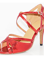 cheap -Women's Latin Shoes PU(Polyurethane) Heel Slim High Heel Dance Shoes Gold / Red / Performance / Leather / Practice