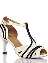 abordables -Femme Chaussures Latines Cuir Verni Sandale Fantaisie Mince haut talon Chaussures de danse Noir / Beige