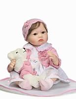 billige -NPKCOLLECTION Reborn-dukker Babypiger 24 inch Silikone - livagtige, Kunstig Implantation Brown Eyes Børne Pige Gave