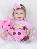 Недорогие -FeelWind Куклы реборн Девочки 22 дюймовый как живой, Искусственная имплантация Коричневые глаза Детские Девочки Подарок