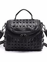 cheap -Women's Bags PU(Polyurethane) Shoulder Bag Rivet / Zipper Black