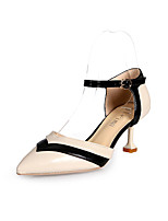 cheap -Women's Shoes Patent Leather Summer Basic Pump Heels Kitten Heel Pointed Toe Black / Beige / Pink
