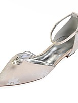 abordables -Mujer Zapatos Encaje Primavera Confort / D'Orsay y Dos Piezas Zapatos de boda Tacón Plano Dedo Puntiagudo Pedrería / Perla / Purpurina Plateado / Champaña / Marfil / Boda / Fiesta y Noche
