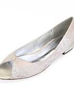 cheap -Women's Shoes Lace Spring Comfort / Ballerina Wedding Shoes Flat Heel Peep Toe Silver / Champagne / Ivory / Party & Evening