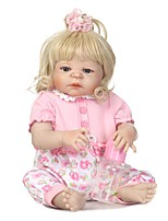 cheap -NPKCOLLECTION Reborn Doll Baby Girl 24 inch Full Body Silicone / Silicone / Vinyl - Artificial Implantation Blue Eyes Kid's Girls' Gift