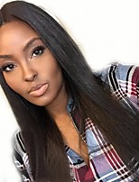 cheap -Virgin Human Hair Lace Front Wig Wig Peruvian Hair Straight Layered Haircut / Middle Part 130% Density With Baby Hair / For Black Women Black Short / Long / Mid Length Human Hair Lace Wig