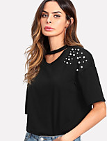 cheap -Women's Basic T-shirt - Solid Colored Beaded
