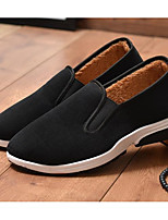 abordables -Homme Chaussures Toile Automne Confort / Doublure fluff Mocassins et Chaussons+D6148 Noir
