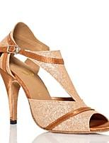 Недорогие -Жен. Обувь для латины Искусственная кожа Сандалии Тонкий высокий каблук Танцевальная обувь Золотой