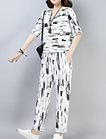cheap -Women's Chinoiserie / Sophisticated Set - Striped Pant