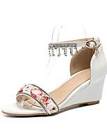 abordables -Femme Chaussures Polyuréthane Printemps été Bride de Cheville Chaussures de mariage Hauteur de semelle compensée Bout ouvert Fleur en