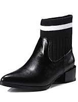 cheap -Women's Shoes PU(Polyurethane) Fall & Winter Bootie Boots Low Heel Pointed Toe Booties / Ankle Boots Black / Wine