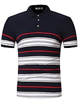 cheap -Men's Cotton Polo - Striped Shirt Collar / Please choose one size larger according to your normal size. / Short Sleeve