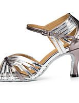 cheap -Women's Latin Shoes Patent Leather Sandal Splicing Slim High Heel Dance Shoes Black / Silver