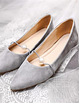 cheap -Unisex Shoes Suede Spring & Summer Comfort Flats Flat Heel Pointed Toe Pearl Black / Gray / Khaki