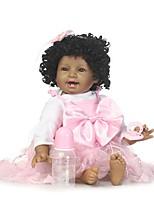 Недорогие -NPKCOLLECTION Куклы реборн Девочки 24 дюймовый Силикон - как живой, Искусственная имплантация Коричневые глаза Детские Девочки Подарок