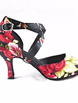 cheap -Women's Latin Shoes Satin Heel Slim High Heel Dance Shoes Black / Red / Performance / Leather / Practice