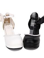economico -Scarpe Dolce / Lolita Classica e Tradizionale Principessa Quadrato Scarpe Tinta unita 6.5 cm CM Bianco / Nero Per PU