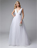 cheap -Princess Plunging Neck Floor Length Tulle Formal Evening / Wedding Party Dress with Draping by TS Couture®