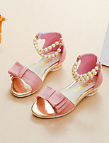 cheap -Girls' Shoes Suede Summer Comfort / Flower Girl Shoes Sandals Walking Shoes Imitation Pearl for Kids Black / Red / Pink