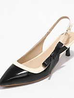 abordables -Mujer Zapatos PU Primavera verano Pump Básico Tacones Tacón Kitten Dedo Puntiagudo Negro / Naranja