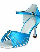 cheap -Women's Latin Shoes Satin Heel Slim High Heel Dance Shoes Blue / Performance / Leather / Practice