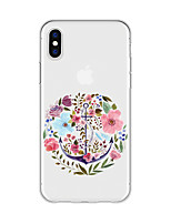 economico -Custodia Per Apple iPhone X / iPhone 8 Plus Fantasia / disegno Per retro Fiore decorativo Morbido TPU per iPhone X / iPhone 8 Plus / iPhone 8