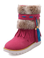 cheap -Women's Shoes PU(Polyurethane) Fall & Winter Snow Boots Boots Flat Heel Round Toe Booties / Ankle Boots Tassel Orange / Beige / Peach