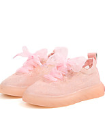 cheap -Girls' Shoes Tulle Spring & Summer Comfort Sneakers Lace-up for Yellow / Green / Pink