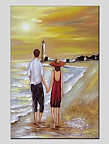 cheap -Oil Painting Hand Painted - Landscape / People Modern Canvas