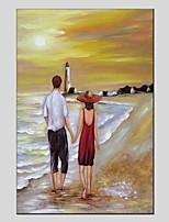 abordables -Pintura al óleo pintada a colgar Pintada a mano - Paisaje / Personas Modern Lona