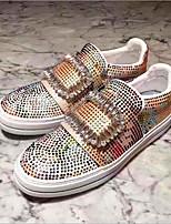 Недорогие -Жен. Обувь Резина Весна Удобная обувь Кеды На плоской подошве Круглый носок Белый / Красный