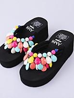 cheap -Women's Shoes EVA(ethylene-vinyl acetate copolymer) Summer Toe Ring Slippers & Flip-Flops Wedge Heel Open Toe Beading Black