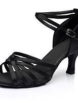 economico -Per donna Scarpe per balli latini Raso Sandali / Tacchi A fantasia Tacco a rocchetto Personalizzabile Scarpe da ballo Nero
