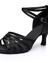 cheap -Women's Latin Shoes Satin Sandal / Heel Splicing Flared Heel Customizable Dance Shoes Black