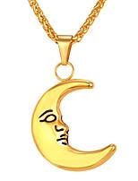 baratos -Homens Longas Colares com Pendentes - Aço Inoxidável MOON Fashion Dourado, Prata 55 cm Colar 1pç Para Presente, Diário