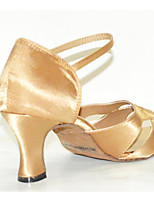 cheap -Women's Latin Shoes Satin Heel Thick Heel Dance Shoes Almond / Performance / Leather / Practice