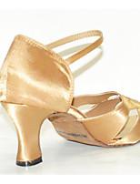 baratos -Mulheres Sapatos de Dança Latina Cetim Salto Salto Grosso Sapatos de Dança Amêndoa / Espetáculo / Couro / Ensaio / Prática
