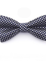cheap -Men's Basic Cotton / Polyester Bow Tie - Color Block / Houndstooth / Patchwork Blue & White, Bow / Criss-Cross / All Seasons