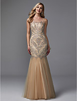 cheap -Mermaid / Trumpet Illusion Neck Floor Length Tulle Formal Evening Dress with Beading by TS Couture®