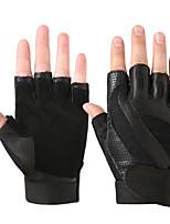 abordables -Gants d'Exercice pour Exercice & Fitness / Vélo / Gymnastique Demi Doigts / Respirable / Antidérapant Cuir de mouton Une Paire Noir /