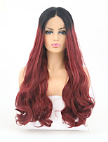 cheap -Synthetic Lace Front Wig Wavy Burgundy Layered Haircut Synthetic Hair Heat Resistant Burgundy Wig Women's Long Lace Front / Yes