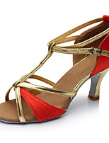 baratos -Mulheres Sapatos de Dança Latina Cetim Sandália / Salto Recortes Salto Carretel Personalizável Sapatos de Dança Vermelho