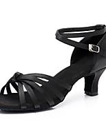 abordables -Femme Chaussures Latines Satin Basket Talon Cubain Personnalisables Chaussures de danse Noir